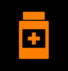 Medical container sign orange icon on black vector