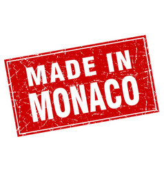 Monaco red square grunge made in stamp vector