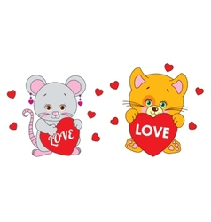 Mouse and cat holding a heart characters vector