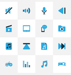 Music colorful icons set with file cinema clap vector