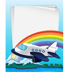 Paper design with airplane flying vector