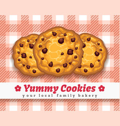 retro choco chip cookie poster vector image vector image