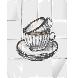 retro tea cups vector image vector image