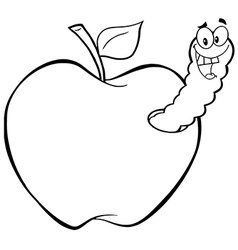 Royalty Free RF Clipart Happy Worm In Red Apple vector image vector image