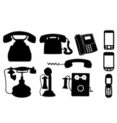 set of telephones vector image vector image
