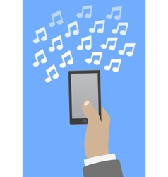 Smartphone in hand music vector image