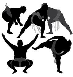 Sumo wrestling silhouette vector