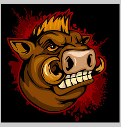 Wild boar head mascot vector