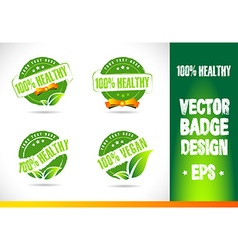 100 healthy badge logo vector