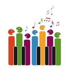 Choir of piano keys vector