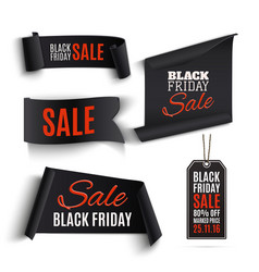 Set of black friday banners and price tags vector