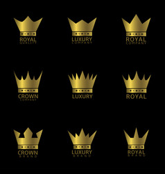Golden crown label vector
