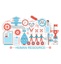 Modern flat thin line design human resource vector