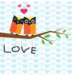 Owls on branch vector image