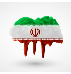 Flag of iran painted colors vector