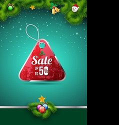 Sale tag on christmas background vector