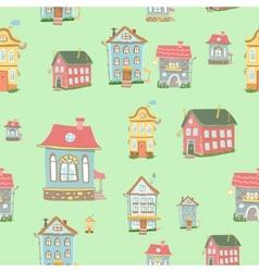 seamless Cute cartoon houses pattern vector image