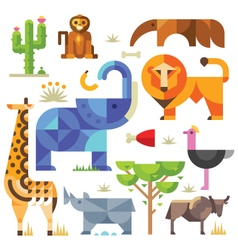 Geometric flat africa animals and plants vector