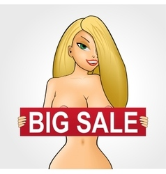 Nude girl with red big sale banner vector