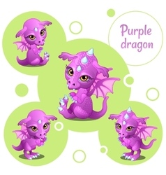 Four cute purple dragon individual icons vector