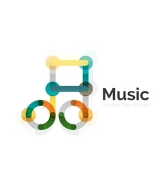 Music note logo flat thin line geometric design vector
