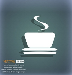 Coffee tea icon on the blue-green abstract vector