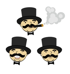 Set of men in top hats vector