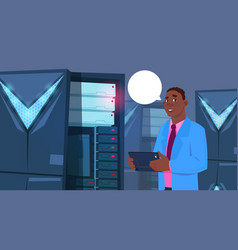 african american business man working on digital vector image