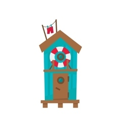 Beach cabin with life preserver buoy vector