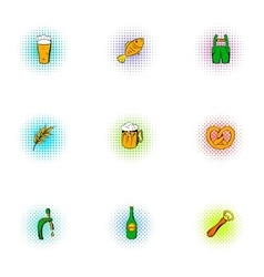 Beer icons set pop-art style vector