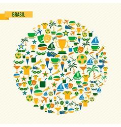 Brazil soccer icons set shape circle vector