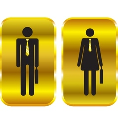Businessman and businesswoman golden signs vector image