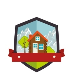 Camping landscape isolated icon vector