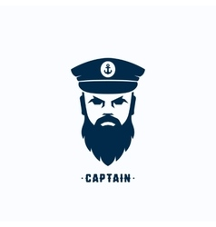 Captain face silhouette logo template vector