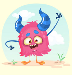 Cartoon happy monster vector