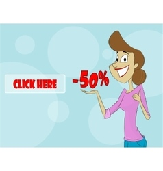 Cartoon woman showing sale percent vector image