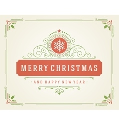 Christmas retro typographic and flourishes vector image