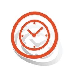 Clock sign sticker orange vector