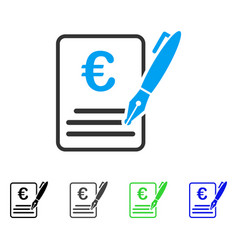 Euro contract signature flat icon vector