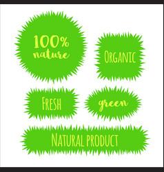 Flat grass banner label bubble template vector