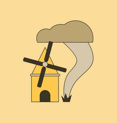 Flat icon on background tornado mill vector