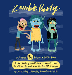 halloween zombie party poster with monster group vector image vector image