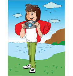 happy teenage girl with camera in front of river vector image vector image