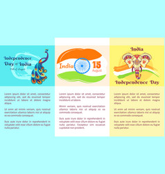 Independence day of india collection of posters vector