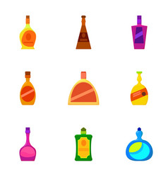 Luxury alcohol bottle icons set cartoon style vector