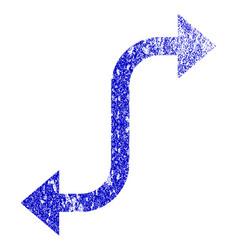 Opposite bend arrow grunge textured icon vector