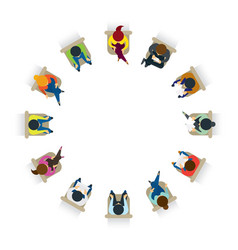 People sitting on chairs in circle form vector