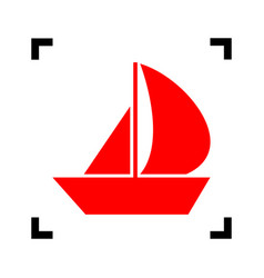 Sail boat sign red icon inside black vector