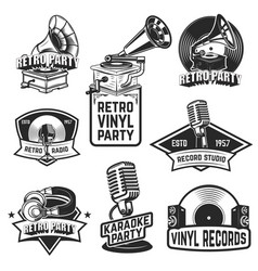 set of retro party emblems design elements for vector image vector image