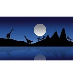 Silhouette of Brachiosaurus in riverbank vector image vector image